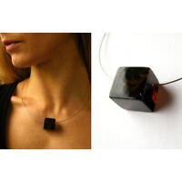 Bernsteinkette, schwarzer Bernstein poliert Silber 925, Necklace amber -UNIKAT -
