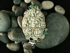 NWT AMY KAHN RUSSELL CHRYSOPHRASE PERIDOT TURTLE STERLING PIN/PENDANT