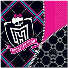 Monster High Zipper Lunch Dinner Napkins Birthday Party Supplies 16 Per Package