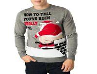 New Mens Funny Bad Santa Chimney Xmas Knitted Christmas Jumper Ugly Rude Sweater