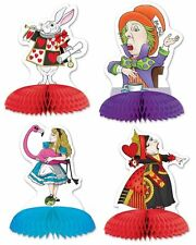 4 ALICE IN WONDERLAND PLAYMATES MINI PARTY CENTREPIECES MAD HATTER WHITE RABBIT