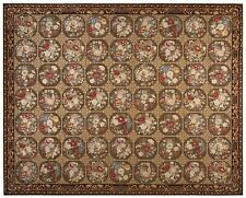 Vintage French Aubusson Needlepoint Rug Garden Brown 12x15 (368cm x 465cm)