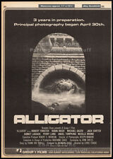 ALLIGATOR__Original 1980 Trade AD promo / poster__Principal Photog__movie promo