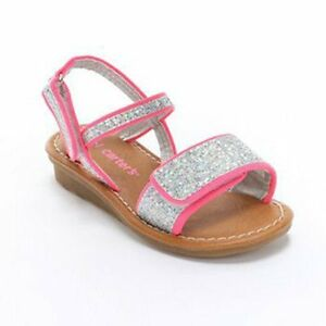 NWT Carter's Lee Sandal Glitter Sparkle Silver/Neon Pink Girls 5 6 7 8 9 CHOICE