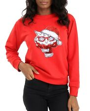 Women's Whimsical Cat with Santa Hat Ugly Christmas Sweater Jumper Size S-2XL
