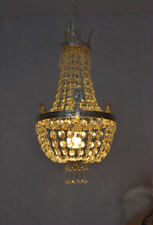 Kronleuchter Kristalle Korblüster Kristallleuchter Vintage Versilbert Messing