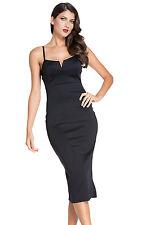 Black Plunging V Neck Backless Midi Dress Medium