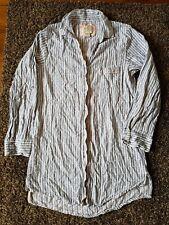 Love To Lounge - Blue & White Stripe Long Length Pyjama Top In Blue Size 6-8