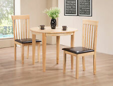 Dining Table Set Round Folding with Two Chairs - Natural Finish