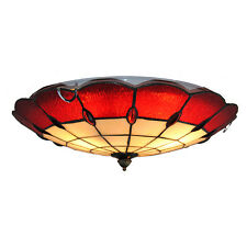 """16"""" Red White Stained Glass Ceiling Lamp Tiffany Home Decor Fixture Lighting New"""