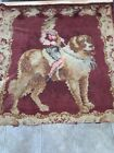 """Antique  Rare Victorian 1890  Dog St. Bernard  Tapestry Chenille 40"""" X 40"""" As Is"""