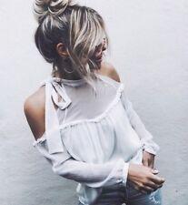 Camicia bianca donna maniche lunghe spalle scoperte voile ruches tg s boho chic