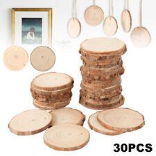 30X Wood Slices Round Discs Tree Bark Log Circles DIY Craft Party Wedding Decor.