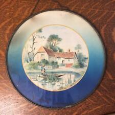 "Antique Vtg Chimney Flue Stove Pipe Vent 8 1/2"" Cover Glass Plate Cottage Lake"