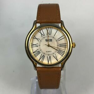 Vintage Guess 1988 Unisex brown leather band Watch Gold Tone & Roman Numbers