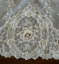"Antique 91"" Long French Net Lace Runner with Schiffli Duchesse Style Lace Ends"