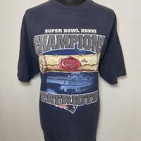 CSA Super Bowl XXXVI 36 Champions New England Patriots Blue T Shirt Vintage XXL