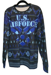 US Air Force Size M Blue Ugly Christmas Sweater Unisex Shirt Pullover