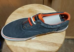 Sperry Top-Sider Men's Striper Denim Navy/Neon Orange Canvas Sneaker Shoe, 11.5M