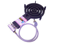 4 Ring LPG Gas Burner Cast Iron Cooker with Hose + Regulator BBQ Camp Stove Wok