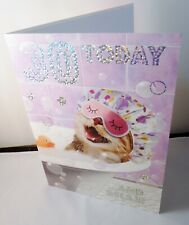 Female 30 Today Birthday card  cat & Duck in Bath Silver Foil Nigel Quiney DS590