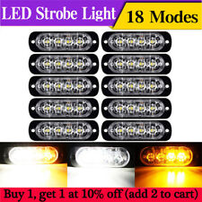 10x White/Amber 4 LED Car Truck Emergency Side Marker Grille Flash Strobe Light