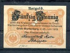 Gross - Wartenberg 50 Pfennig Notgeld Verkehrausgabe ......................z1243