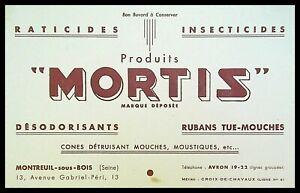 Buvard Publicitaire, MORTIS - Raticides, insecticides - Rubans tue-Mouches