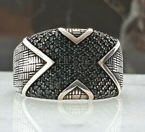 X Symbol Solide 925 Sterling Silber Mens Ring  Schwarz Onyx Edelstein Handgefer
