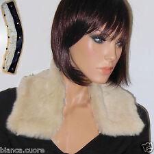 COLLO PELLICCIA LAPIN donna bianco panna colletto ENTRA VEDI FOTO F112