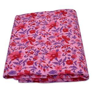 5 Yard Indian Hand Block Printed Fabric Cotton Running Dress Sewing Material B4