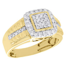 10K Yellow Gold Diamond Step Shank Square Tier Pinky Ring 12mm Mens Band 1 CT.