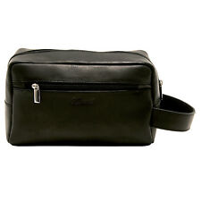 Ashwood - Black Wash Bag with Carrying Handle in Buffalo Smooth Leather