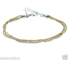 Triple Strand Sparkle Glitter Chain Necklace 925 Sterling Silver QVC J307080
