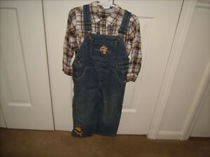 DISNEY STORE Cowboy Tigger & Pooh Blue Jean Overalls and Shirt 36 Months