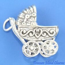 Baby Carriage Stroller Movable Top 3D .925 Solid Sterling Silver Charm USA MADE