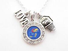 Kansas Jayhawks Multi Charm Love Basketball Blue Silver Necklace Jewelry KU