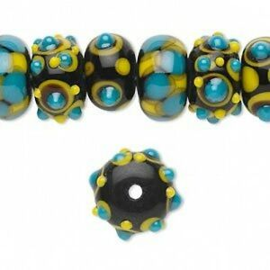 20 Handmade Rondelle Lampwork Glass Beads BUMPY DOTS