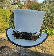 WHITE LEATHER MEN & WOMENS RETRO STYLE STEAMPUNK TOP HAT W. AVIATOR GOGGLES