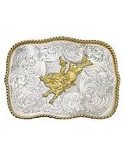 Montana Silversmiths Tooled Engraved Gold Silver Bull Riding Rider Belt Buckle