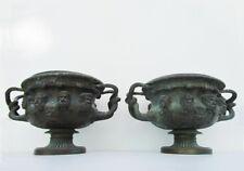 Set of 2 Antique Bronze Warwick Albani Vases
