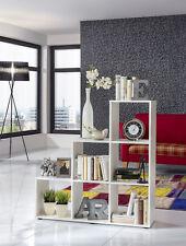 Wilmes: Treppenregal mit 6 Fächer - Raumteiler Bücherregal Stufenregal - Weiß
