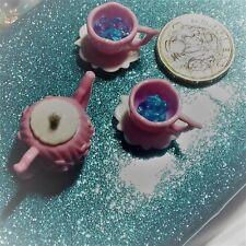 Dinky little Fairy Garden / Fairy Door miniature Pink Teaset accessories