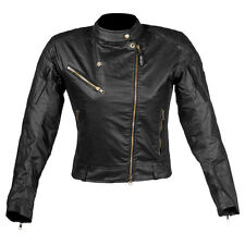 Ladies Black Motorcycle Wax Cotton Jacket Casual Street Summer Vented CE Jacket