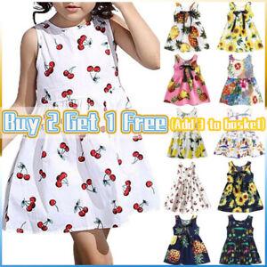 Toddler Kids Girls Floral Print Shirt Dress Summer Holiday Sun Dresses Clothes