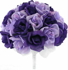 Purple and Lavender Silk Rose Hand Tie (36 Roses) - Bridal Wedding Bouquet