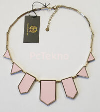 House of Harlow Pink Leather Gold tone Classic Station Necklace NWT