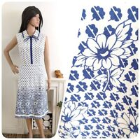 Vintage 70s Navy Cotton Ditsy Daisy A line Sun Dress 10 12 38 40
