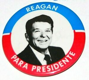 1980 RONALD REAGAN BUSH SPANISH campaign pin pinback button political president