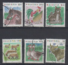 Switzerland fauna-horses,rooster,hen,ducks,donkey,cow 1990-1995 USED